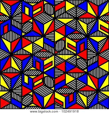 Bright Colored Cube Geometric Pattern In Style Of The 80S