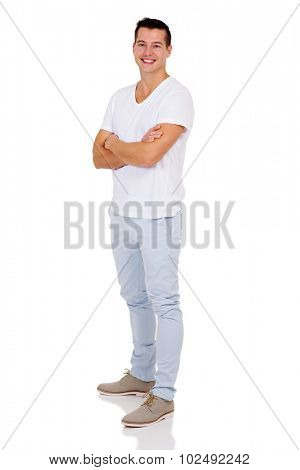 good looking man with arms folded isolated on white