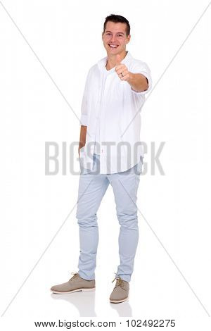 good looking young man giving thumb up on white background