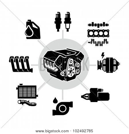 Car Engine Parts Vector Icons