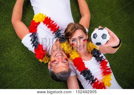 happy german fans with ball