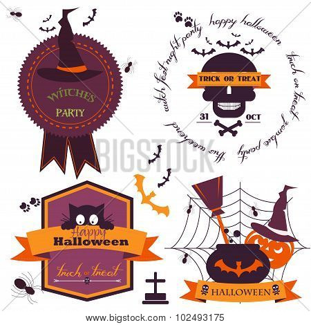 Set Of Vintage Happy Halloween Badges And Labels.vector Illustration. Cute Halloween Characters. Set