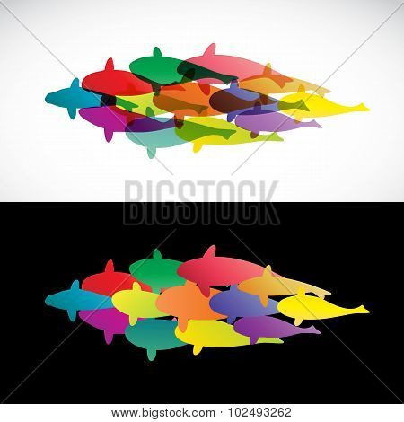 Fish Design On White Background And Black Background  - Vector Illustration, Koi