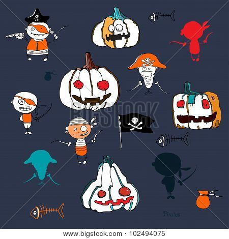 vector little funny pirates and halloween pampkins on deep blue  background with silhouettes for hol
