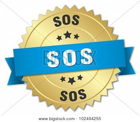 Sos 3D Gold Badge With Blue Ribbon