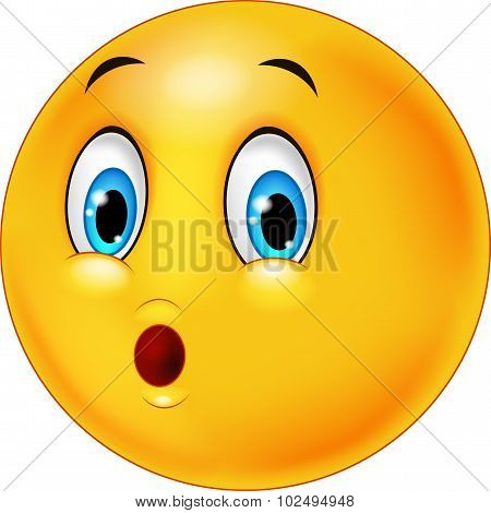 Surprised emoticon face cartoon