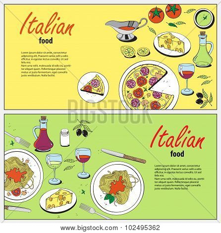 Vector_cooking_banner_template_with_hand_drawn_objects_on_italian_food_theme_pizza_pasta_tomato_oliv