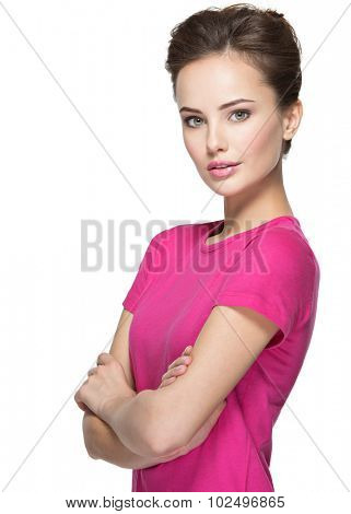 Portrait of a beautiful young woman with  calm  emotions on face over white background