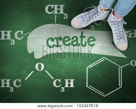 The word create and woman wearing trainers against green chalkboard