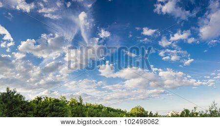Sky With Cumulus Clouds And Cirrus Cloud On A Background Of Trees