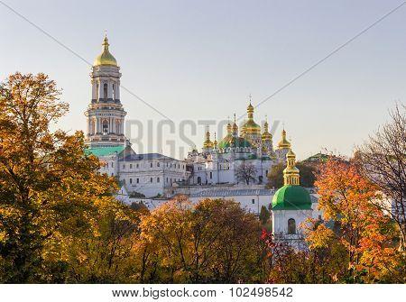 Panorama Of Kiev-pechersk Lavra In Autumn Evening