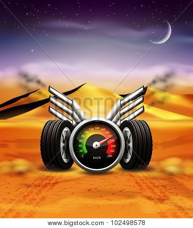 Racing background with speedometer and wheels.