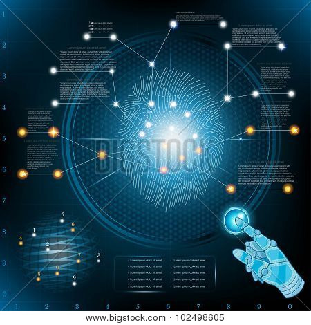abstract fingerprinting infographic with robotic hand poiner info and fingerprint
