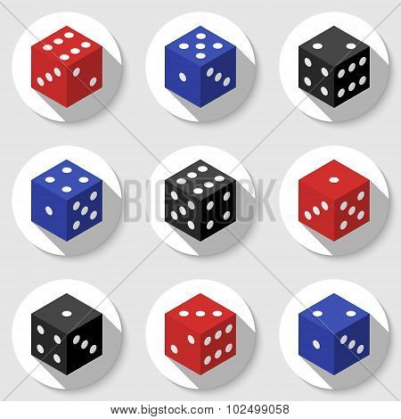 Red, Blue And Black Casino Dice On A White Background.