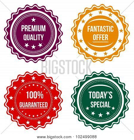 Set Of Colorful Round Badges.