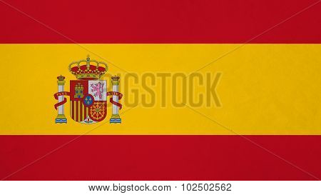 Flag of Spain, Spanish Flag painted on paper texture.