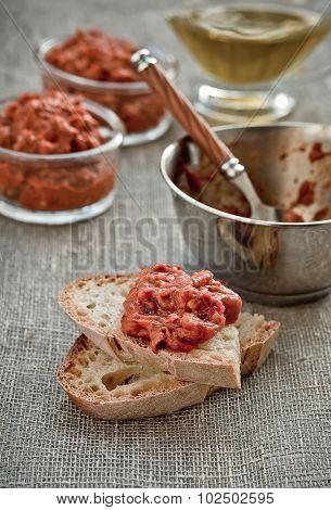 Appetizer, Balkan Red Pepper Relish. Close-up.