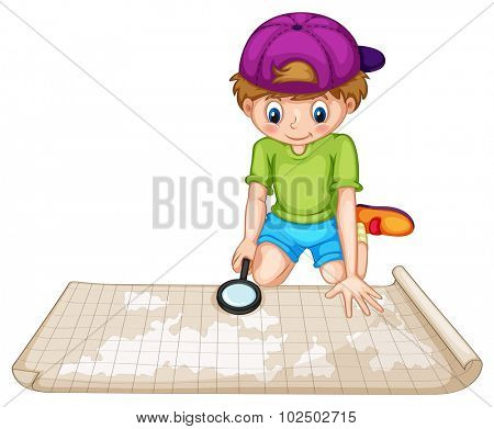 Boy looking at the atlas illustration