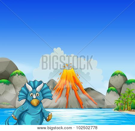 Dinosaur living by the lake illustration