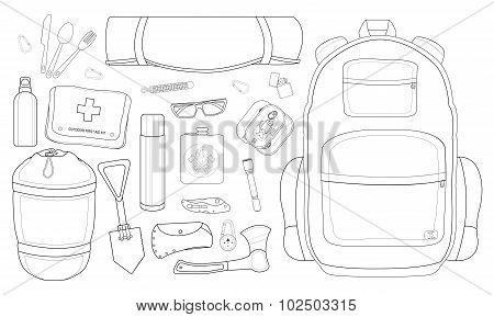 Camping items set. Contour