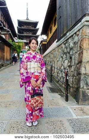 Japanese woman with kimono and visit yasaka pagoda