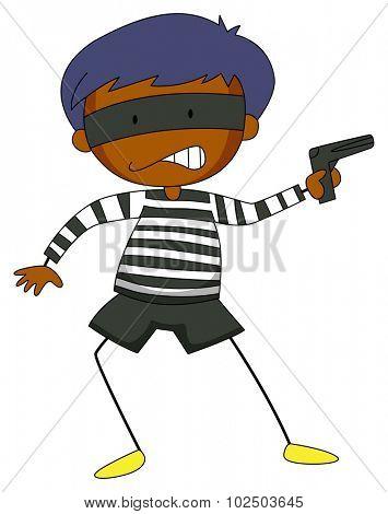 Robber holding a gun illustration