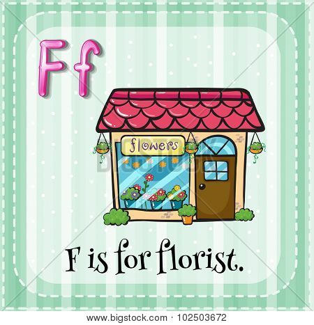 Flashcard of F is for florist			 illustration