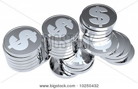 Stacks of silver coins isolated on a white background