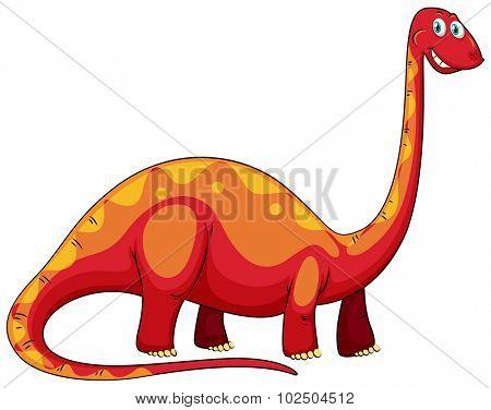 Long neck red dinosaur on white illustration