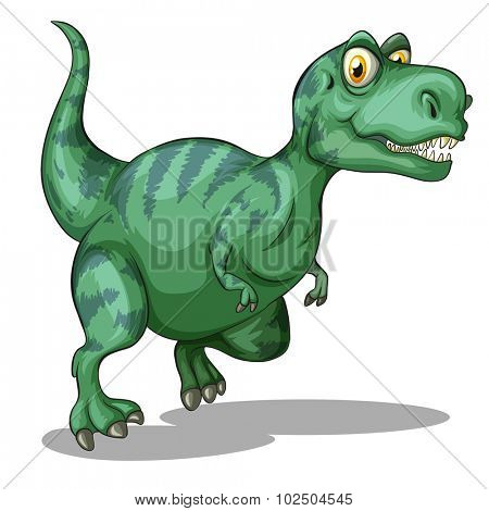 Green dinosaur standing alone on white illustration