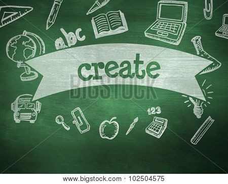 The word create and education doodles against green chalkboard