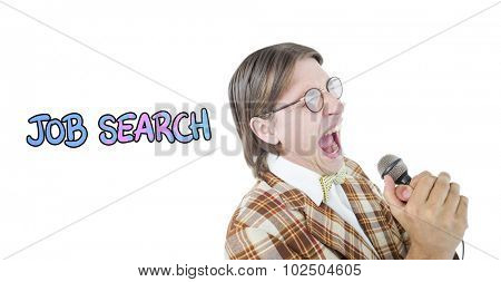 Happy geeky hipster singing with microphone against job search