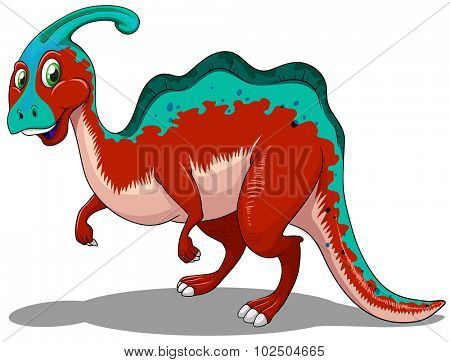 Cute red and blue dinosaur on white illustration