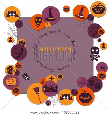 Halloween Concept. Flat Icons Arrange On The Frame With The Plase For Text. Set Of Halloween Charact
