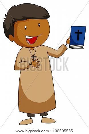 Priest holding a bible book illustration