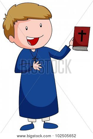 Priest carrying a bible book illustration