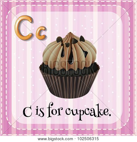 Flashcard letter C is for cupcake illustration