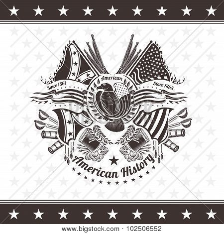 american civil war military background coat of arms with eagle flags and weapons engraving