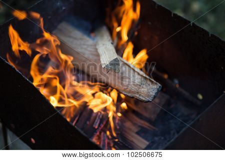 Fire In Barbeque Grill Set