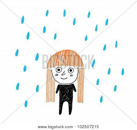 Girl Under The Rain, Hand Drawn Ink Vector Illustration