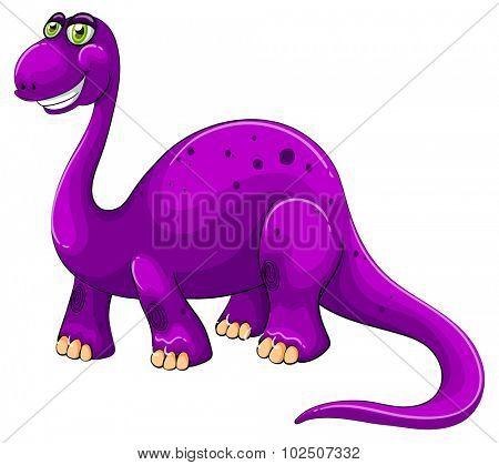 Purple dinosaur standing alone illustration