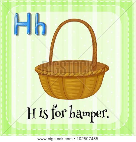 Flashcard letter H is for hamper illustration