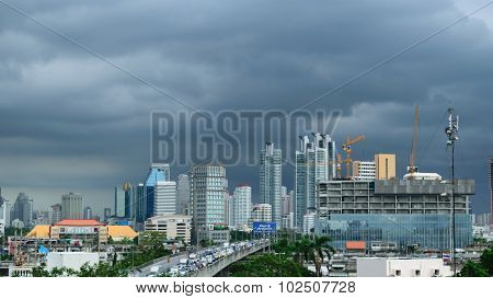 Daytime And Crane With Building Construction In Bangkok City Thailand