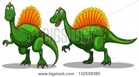 Green dinosaur with sharp claws illustration