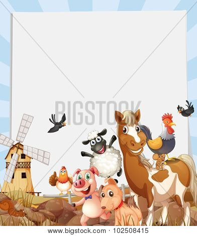 Farm animals living on farmland illustration