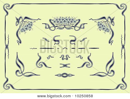 set of floral elements for borders