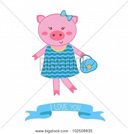 Illustration of fashionable pig mom
