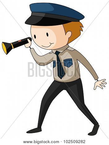 Security guard holding flashlight illustration