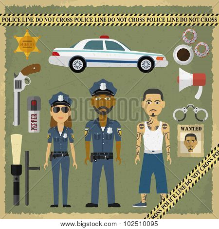 Two police officers, man and woman, and criminal man in flat style. Police and criminal flat icons.