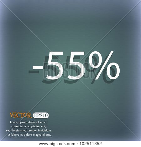 55 Percent Discount Sign Icon. Sale Symbol. Special Offer Label. On The Blue-green Abstract Backgrou